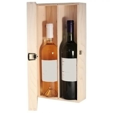 Cutie lemn doua sticle