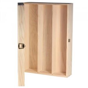 Cutie lemn trei sticle